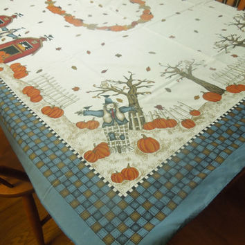 Vintage Fall Themed, Pumpkin, Harvest, Scarecrow Kitchen Dining Luncheon Table Cloth for housewares, home decor, linens by MarlenesAttic