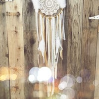 Gold & White Feather Lace Dreamcatcher