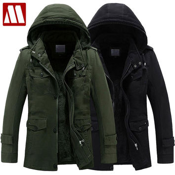 Warm Coat Winter men Hooded Thicken Cotton Coats Military Style Overcoat Men windproof snow parka Jacket casual Outerwear