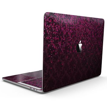Burgandy Falling Micro Hearts - MacBook Pro with Touch Bar Skin Kit