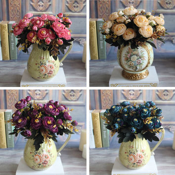 New Hot Vivid Autumn Artificial Fake Peony Flower Posy Home Hotel Room Bridal Wedding Hydrangea Decor