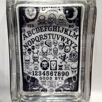 Vintage Ouija Board Skulls Square Designer Glass Ashtray