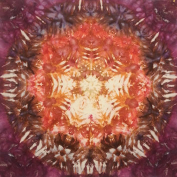 Mandala tie dye tapestry in peach coral bronze and burgundy