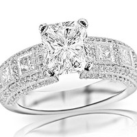 4.09 Carat Radiant Cut / Shape 14K White Gold Exquisite Bezel Set Princess Cut And Pave Set Round Diamond Engagement Ring ( J Color , VS2 Clarity )