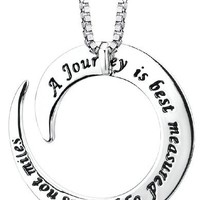 """Sterling Silver """"A Journey Is Best Measure By Friends Not Miles"""" Circle Pendant Necklace, 18"""""""