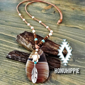 Honu Hippie Sea Turtle beach necklace, bohemian hippie jewelry