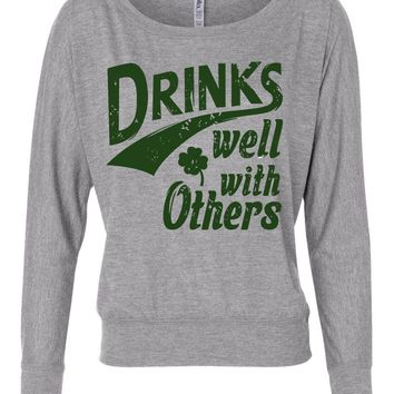 drinks well with others st paddys day long sleeve shirt