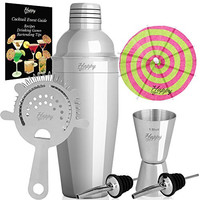 Cocktail Shaker Set - Martini Mixer Kit - 24 oz Cobbler Shaker, Jigger, Strainer, 2 Pourers, 10 Cocktail Umbrellas & Recipe Event EBook. Premium Stainless Steel 304 Professional Bar Tools by Happy-li