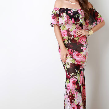 Floral Print Mesh Off The Shoulder Mermaid Maxi Dress