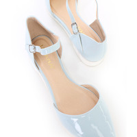 Light Blue Ankle Strap Pointy Toe Sandal Flats Patent Faux Leather