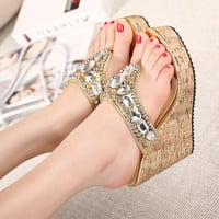 Summer Star Rhinestone Gemstone Wedge Sandals High Heel Slippers [6047408065]