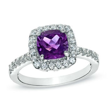 7.0mm Cushion-Cut Amethyst and Lab-Created White Sapphire Ring in Sterling Silver - Size 7