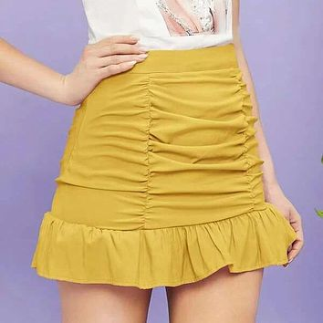 Solid Ruffle Hem Ruched Skirt