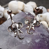 "Rose Gold Navel Ring 14g Elephant Head Belly Button Rings Clear Gemstone 3/8"" 10mm Shri Ganesha Bali Body Jewelry 5mm Gem Ball End Curved"