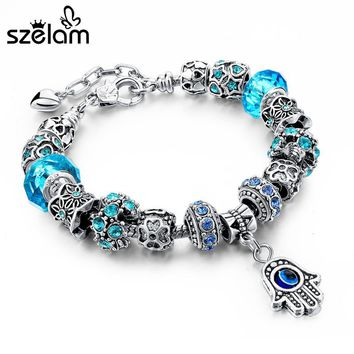 2016 Red/Blue/Purple Hamsa Charm Bracelets For Women Crystal Beads Evil Eye Bracelets & Bangles Pulseras SBR150277