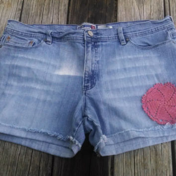 sz 18 Distressed Blue Jean Shorts with Crocheted Doily  - Womens Ladies - Handmade by The Hippie Patch