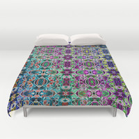 Abstract Rainbow Mandala Duvet Cover by Hippy Gift Shop