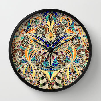 Drawing floral abstract background B9 Wall Clock by MedusArt