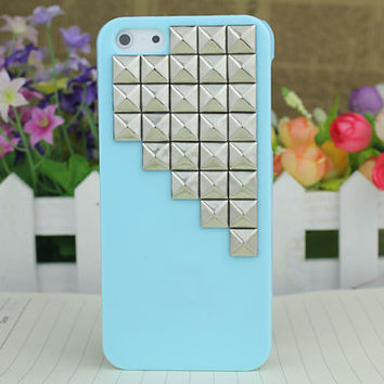 Light Green Hard Case Cover With Silvery Stud for Apple iPhone5 Case, iPhone 5 Cover,iPhone 5s Case, iPhone 5gs