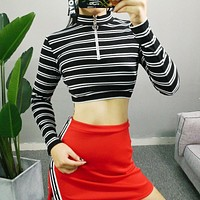 Women Multicolor Stripe Bodycon Turtleneck Zip Long Sleeve Crop Tops T-shirt