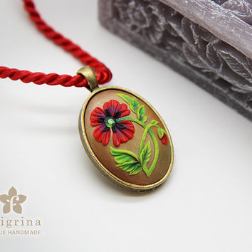 Sale! RED POPPY oval pendant, floral motif in brass tone metal bezel, polymer clay filigree applique technique.Vintage looking romantic gift