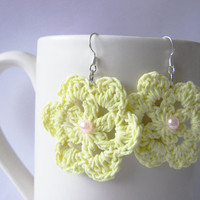 Yellow Crochet Flower Earrings - Sterling Earwires