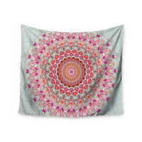"Iris Lehnhardt ""Summer Lace III"" Circle Pink Green Wall Tapestry"