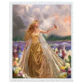 Needlework DIY DMC 14CT unprinted Cross stitch kits For Embroidery beauty angel flower garden Home Decor