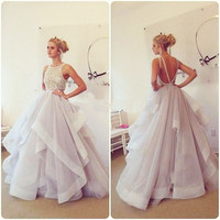 Open Back Ruffles Long Prom Dresses