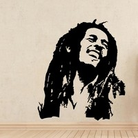 For Rooms Bedroom Decor Wall Art Decoration Bob Marley Wall Stickers Removable Wallpaper