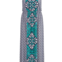 Plus Size - Crisscross Back Maxi Dress - Multi