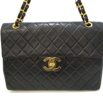Auth CHANEL Large Matelasse Black Lambskin Shoulder Bag Gold Hardware