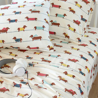 Dachshund dogs flannel sheet