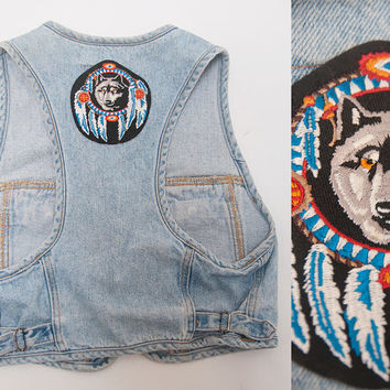 Womens 80s 90s Denim Biker Vest with Dreamcatcher Wolf Back Patch | Ladies Rocker Motorcycle Vest | Size Small Boho Tank | Festival Crop Top