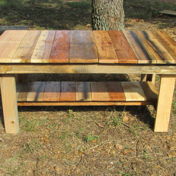 Natural Wood Rustic Coffee Table Side Living R
