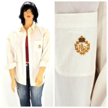 Vintage 80s Polo Ralph Lauren white cotton oxford shirt L, 1980s Polo preppy long slee