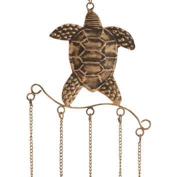 Turtle Wind Chime With Exquisite Design In Copper Finished