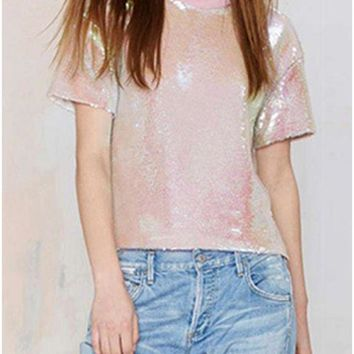 B| Chicloth Women Sequined T-shirt O Neck Short Sleeves Dropped Shoulder Costume Tees Casual Tops