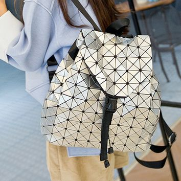 Silver Geometric PU Backpack