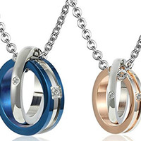 Daesar His & Hers Necklace Set Couples Stainless Steel Double Interlocking Ring Shape CZ Pendant