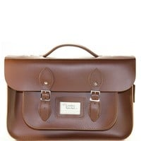"Chestnut Brown 14"" Leather Satchel - Bags - Women's Trinity Place Department Store"