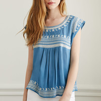 Embroidered Gauze Top