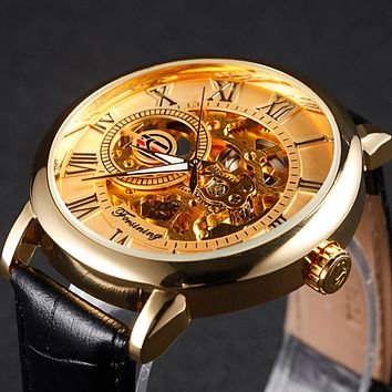 Golden Case Luxury Men Rome Number Display mechanical Black Dial Leather Strap Male Casual Watch