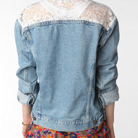 Urban Renewal Oversized Lace Inset Denim Jacket