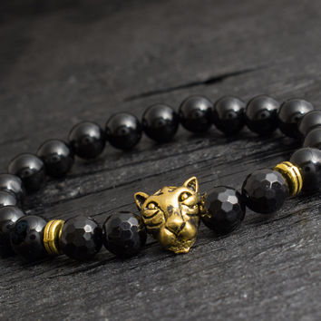Black onyx beaded gold Leopard head stretchy bracelet with faceted beads custom made yoga bracelet