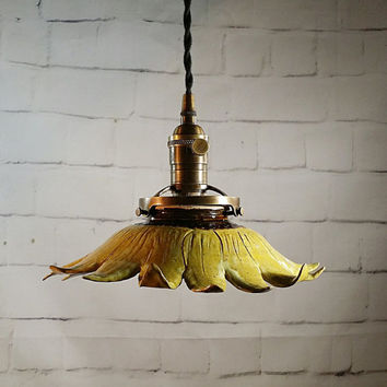 Handcrafted Pottery Hanging Sunflower Pendant Light