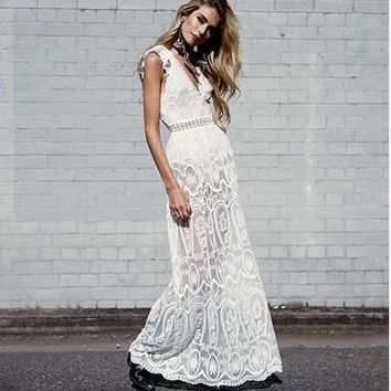 Aphrodite Backless Sheer Lace Maxi Dress