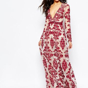 For Love And Lemons | For Love and Lemons Temecula Embroidered Maxi Dress in Red at ASOS