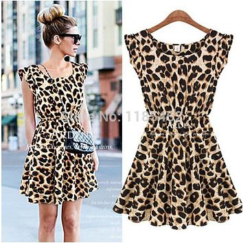 Summer 2014 New Women Sexy Casual Leopard Print O-Neck Sleeveless Dress Ruffles Novelty Chiffon Mini Dress