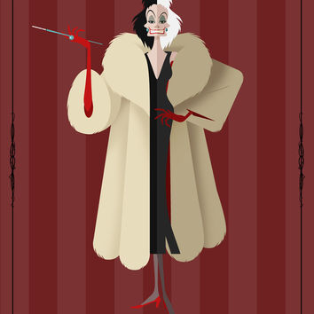Villains Trading Card - Cruella De Vil Art Print by ChrisAbles